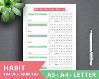 "Habit Planner Printable ""HABIT TRACKER"" Letter A4 A5 Planner Binder. Instant Download, Healthy Habit Planner, Goal Planner, Habit Binder"