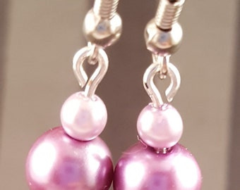 Metal Rose & Pink Glass Bead Earrings