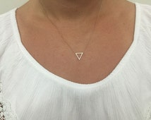 Element Necklace, Triangle Alchemy necklace, Silver Triangle necklace, Necklace triangle, Necklace water symbol