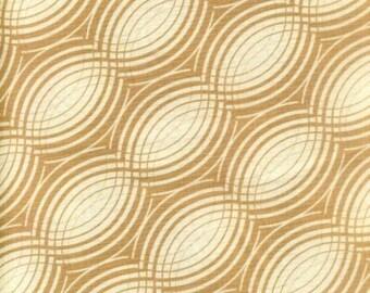 "Waves Fabric: Music Rhythm geometric Circles by Benartex Fabric TAN 100% cotton Fabric by the yard 36""x43""  (F74)"