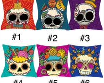 Sugar Skull Pillow Case Cover Cotton Linen  Home Decorative Cushion - Gift - Day Of The Dead - Los Muertos -  17x17 - 45cm x 45cm