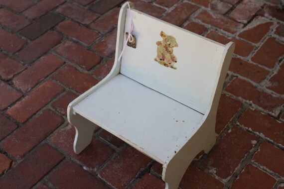 Vintage White Stool with Lamb Decal