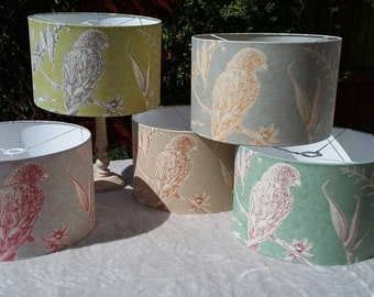 SQUAWK - 40cm Pendant/Table Drum Lampshade in this colourful Tropical Bird design from Lewis & Wood