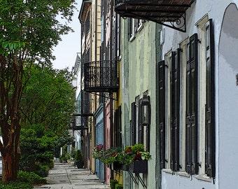 Rainbow Row Print, Rainbow Row Charleston, Charleston photography print, Charleston Fine Art Print, #CH 3604