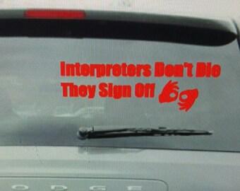 ASL Awareness Deaf Car Decal Interperters