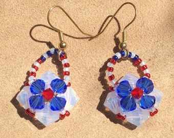 Red, white and Blue Swarovski Crystal Earrings