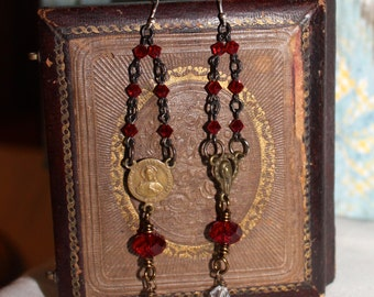 Ruby, earrings, vintage assemblage, rosary, religious medals, Swarovski crystals.