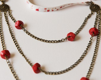 Long Necklace Ethnic Flowers 3 Rows Red and White