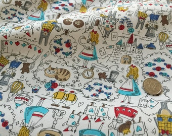 Alice in the Wonderland Blue 100% Cotton Fabric
