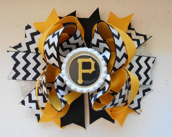 MLB Pirates Handmade Boutique Layered Hair Bow