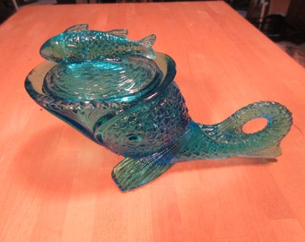 Blue glass fish compote with lid