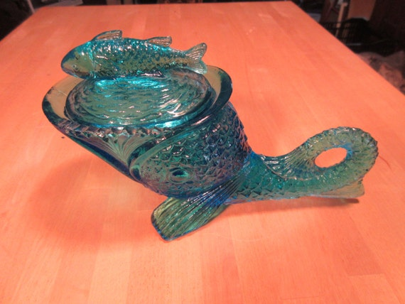 On Sale Blue Glass Fish Compote With Lid