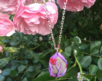Pendant with chain in purple and Red/amulet/handmade/fantasy/mystical/gift for women/DIY/OOAK/unique/nature/spiritual/handmade