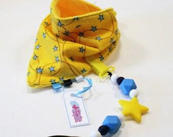 Yellow stars bandana bib blue