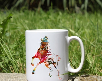Colorful Mug Horse- White Ceramic Mug - Printed Mug - Tee Mug - Coffee Mug - Art Mug