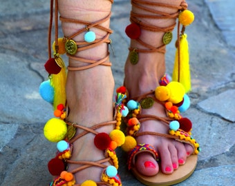 FREE SHIPPING Pom Pom Sandals / Gladiator Sandals / Woman Ethnic Sandals / Greek Leather Sandals / Lace up Sandals / Colorful Summer Sandals