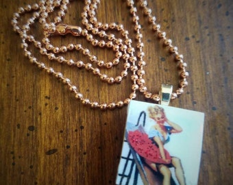 Pin up girl scrabble pendant necklace