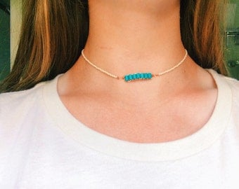 Turquoise and bronzs stacked bead choker