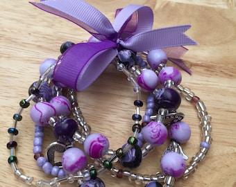 Purple clay beaded bracelet