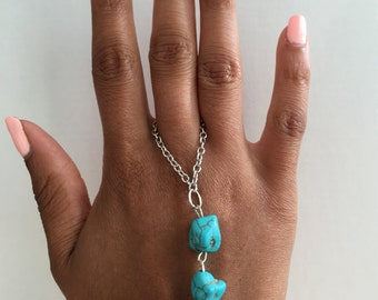 Blue Stoned Hand Chain/ Slave Bracelet