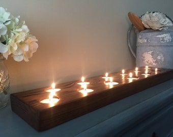 Farmhouse tealight holder, Rustic Wood Tealight Centerpiece, Wedding Centerpiece, Table Centerpiece, Farmhouse Candle Holder, Rustic Tealigh