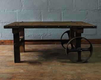 Industrial Coffee Table, coffee table, vintage coffee table, farmhouse coffee table, coffee cart, hand made coffee table,unique coffee table