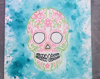 Sugar skull- dia de los muertos- unique painting