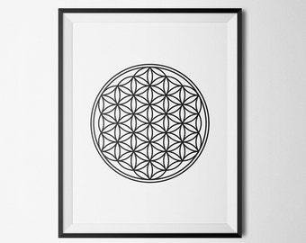 Flower of Life Sacred Geometry Wall Decor Black and White psychedelic Minimalist home decor 8x10, 11x14