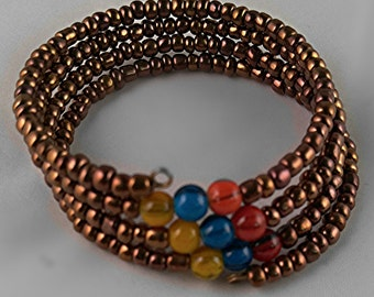 Handmade Vintage Steampunk Memory Wire Wrap Bracelet x3