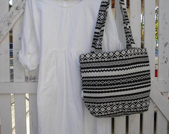 White Cotton Dress, one size fits most, natural fabric, long sleeves