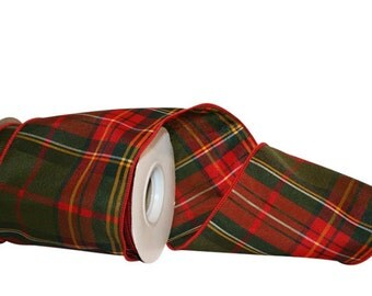 Designer Plaid ribbon - Wire Edge  - 3 Widths - 10 Yard Roll