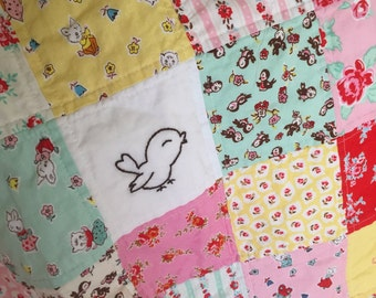 Bunnies, Birds and Kittens Baby Quilt