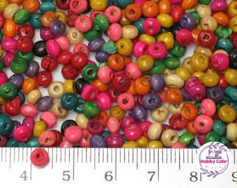 Wood Beads, 4mm, Mixed Color, 10g , ~400pcs
