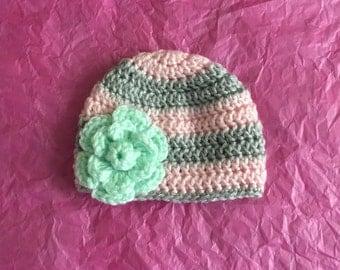 Striped Flower Hat -Newborn