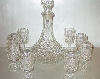 Vintage Anchor Hocking Wexford Captain's Wine/Whiskey Decanter 8 Glasses
