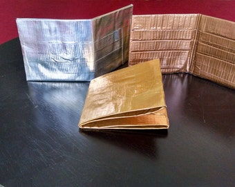 Metallic colored duct tape wallets