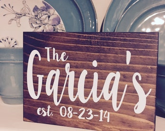 "The (Garcias) established sign! Customize this 5x7"" block sign with any last name and wedding date!"