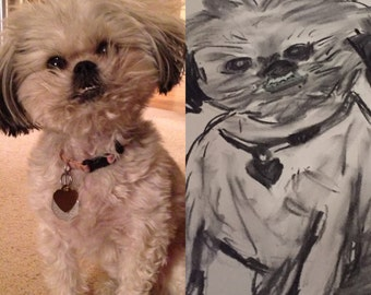 Personalized Dog Drawings in Charcoal