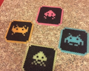 Glow in the dark space invader coasters 4pc set