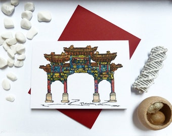 Liverpool Chinese Arch Greeting Card, Chinese New Year, A6