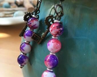 Handmade, Boho, Industrial, Steampunk, Bronze, Key, Charm, Purple, Watercolor bead, Dangle, Drop, Earrings