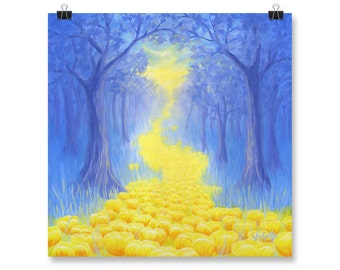 """Forest Painting, Landscape, Wall Art, Poster Print, Woods, 10x10"""", 12x12"""", 14x14"""", 16x16"""", 18x18"""""""