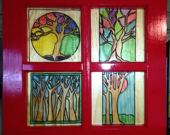 Four Window 'Stained Glass' Trees