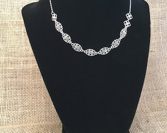Antiqued Silver Filigree Collar Necklace