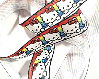 Hello Kitty rainbow kawaii ribbon