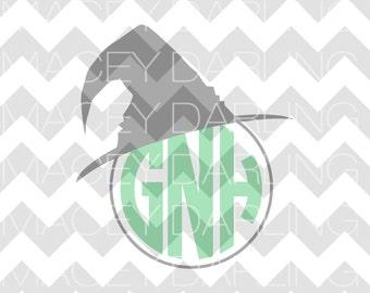 Witch Hat Monogram SVG, Halloween Monogram Frame SVG, Monogram Frame SVG, Happy Halloween Svg, Witch Svg, Witch Hat Dxf, Witch Hat Cut File