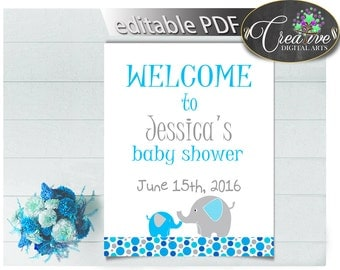 Baby Shower Dumbo Baby Shower Aqua Editable Greetings Welcome Guests  WELCOME SIGN, Instant Download,