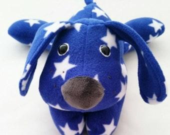 Puppy bear, fleece puppy, dog bear,star puppy, blue and white puppy pete, blue dog, cute puppy, soft puppy, star dog, puppy dog, star print