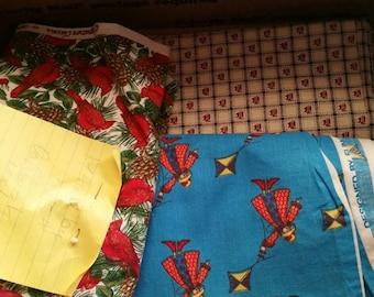 Large Box Lot of Vintage Fabric, Yardage. Over 10 yards in box! Cherubs, kite girls, flowers. ALL SUPER CUTE!!! B1