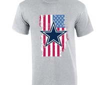 Dallas Cowboys T-Shirt American USA Flag Fan Inspired Flag July 4th Memorial Day Fan Tee